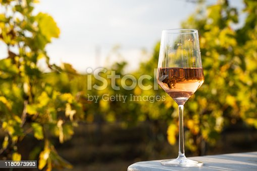 closeup front view glass of rose wine on table in the morning light with green vineyard leaves and blue sky in the background