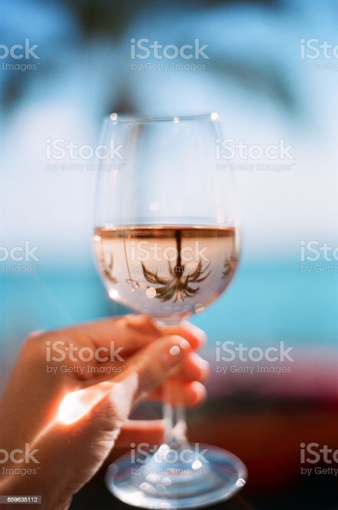 A Glass of Rose with a Palm Tree Reflection stock photo