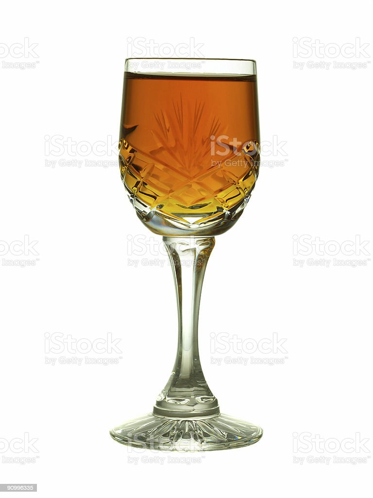 A glass of sherry on a white background stock photo
