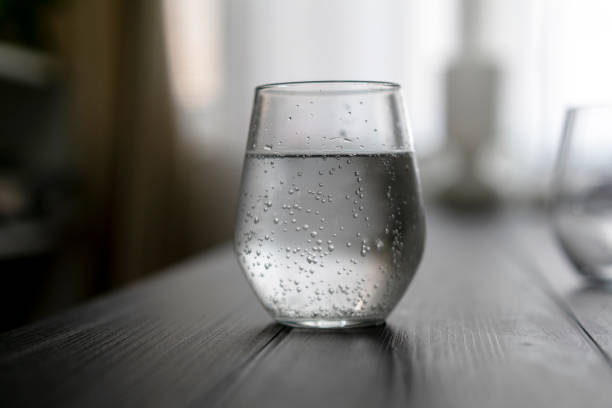 glass of soda water stock photo