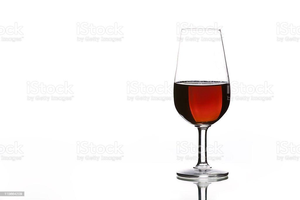 Glass of Spanish sherry on white background. stock photo