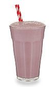Glass of strawberry Milkshake and straw
