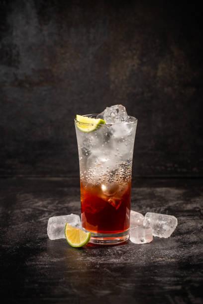 Glass of strawberry soda drink stock photo