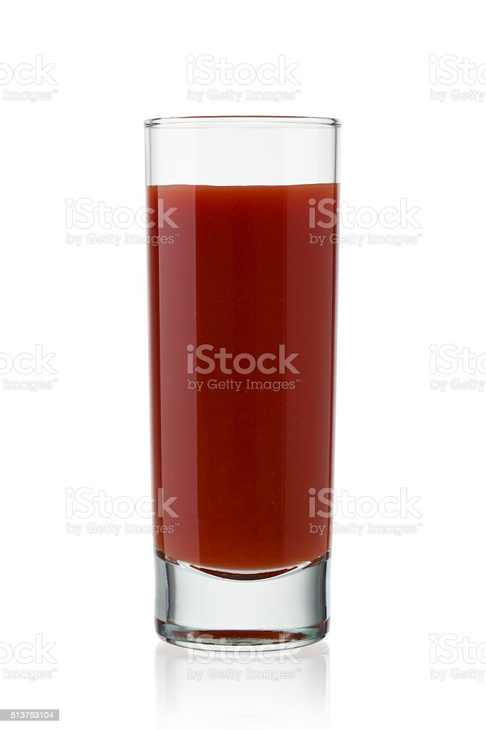 Glass of tomato juice stock photo