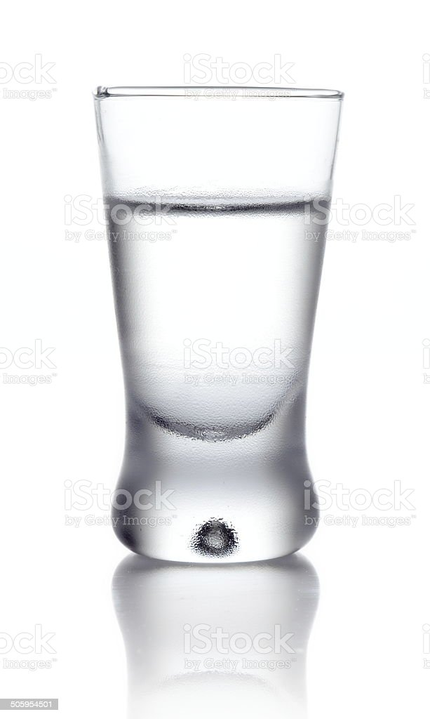 Glass of vodka isolated on white stock photo