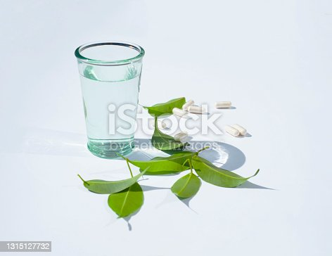 A glass of water and a pill capsule. Green leaves. White background.