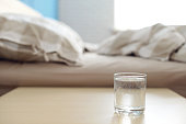 glass of water on the Night Table in the bedroom