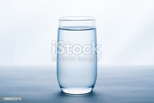 glass of water on white background.