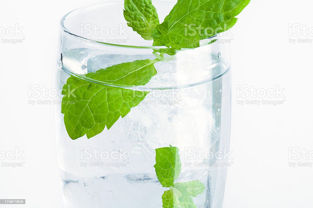 glass of water with ice and mint royalty-free stock photo