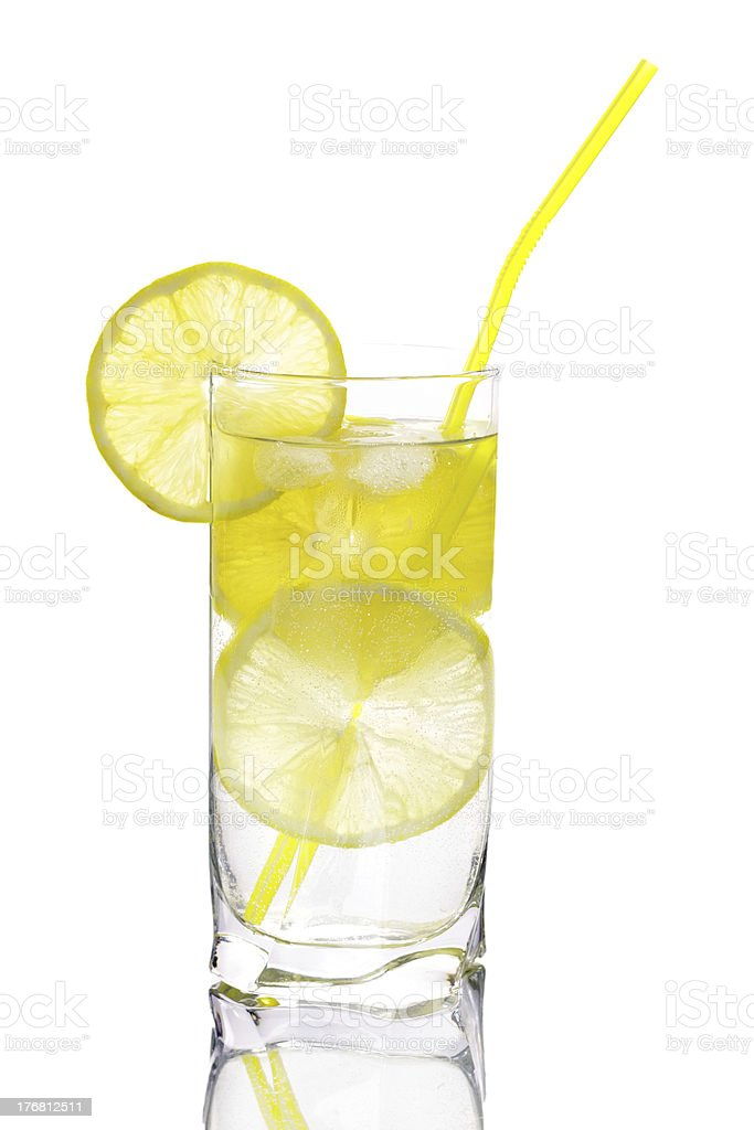 Glass of water with lemon isolated royalty-free stock photo