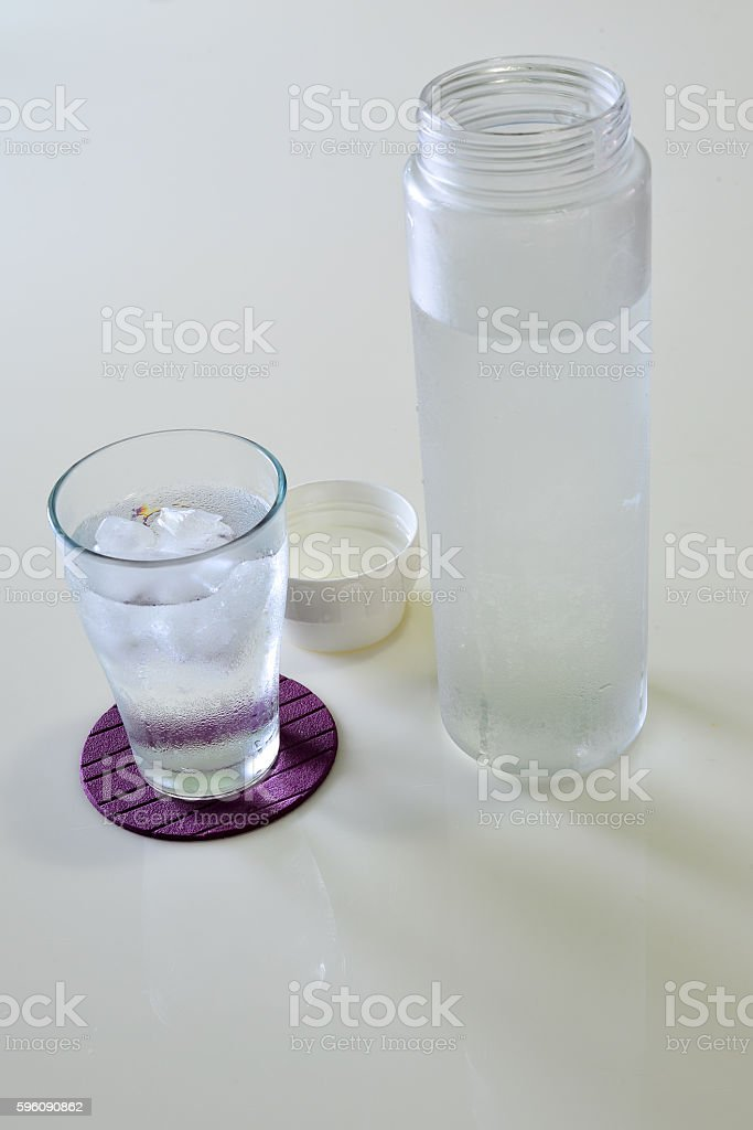 Glass of Water with the Bottom, Set of Drink royalty-free stock photo