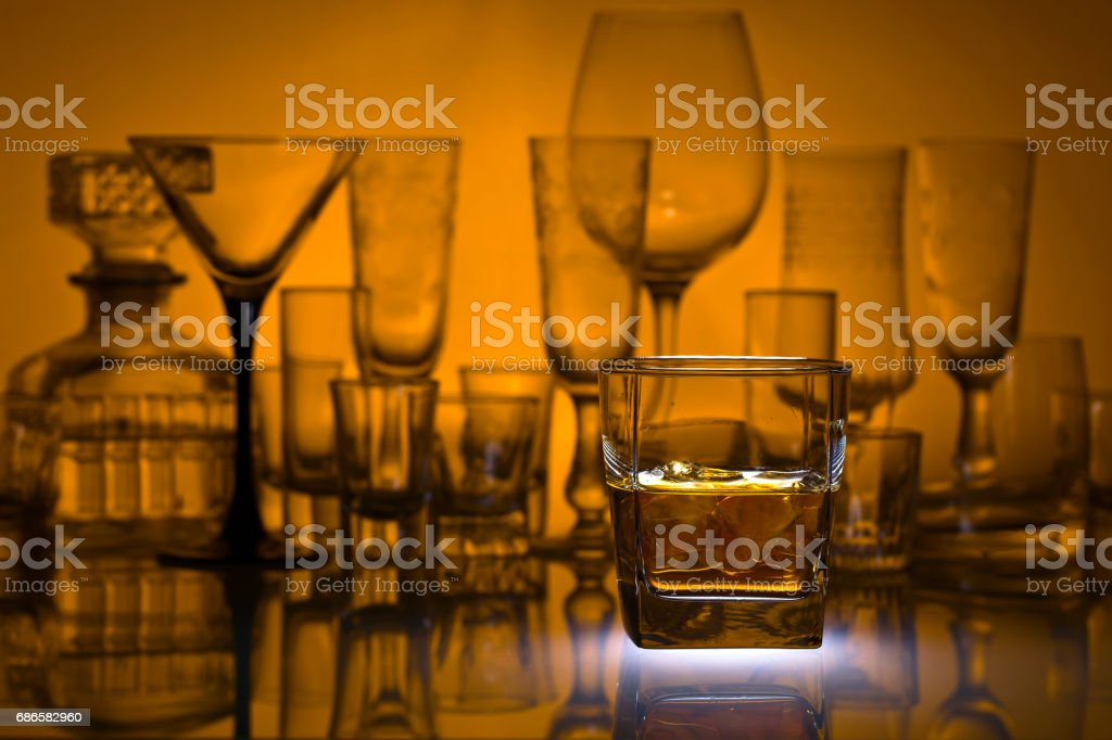Glass of whiskey with ice royalty-free stock photo