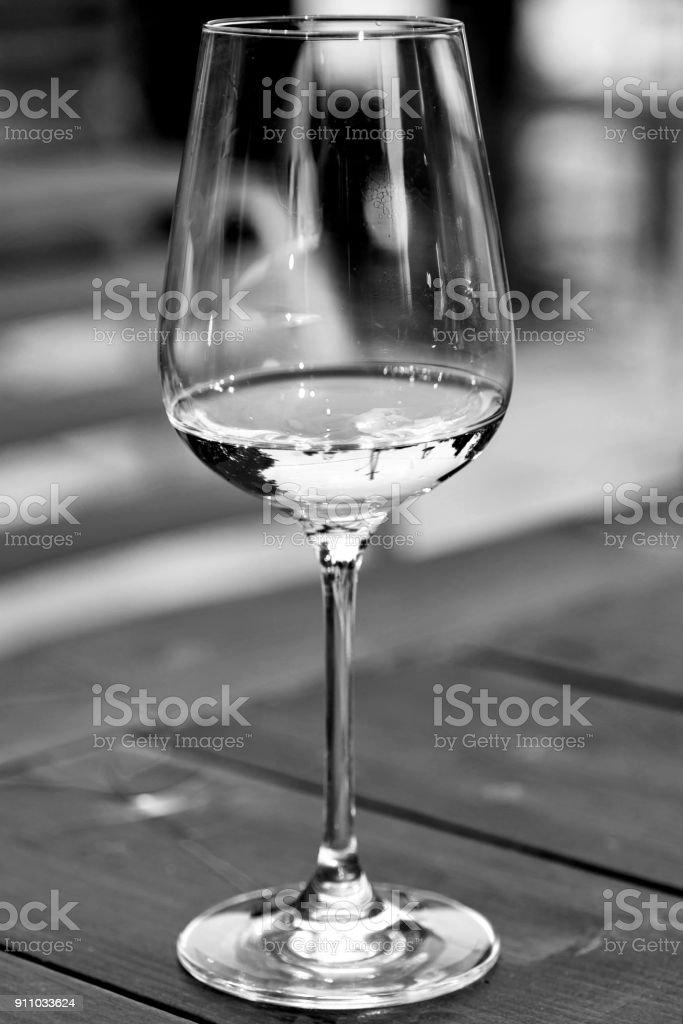 Glass of White Wine Close Up stock photo