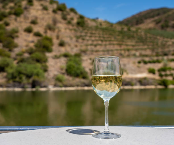 Glass of white wine on a cruise boat on Douro river in Portugal Glass of white wine for tasting on deck of cruise boat on the river in the Douro valley in Portugal duero stock pictures, royalty-free photos & images
