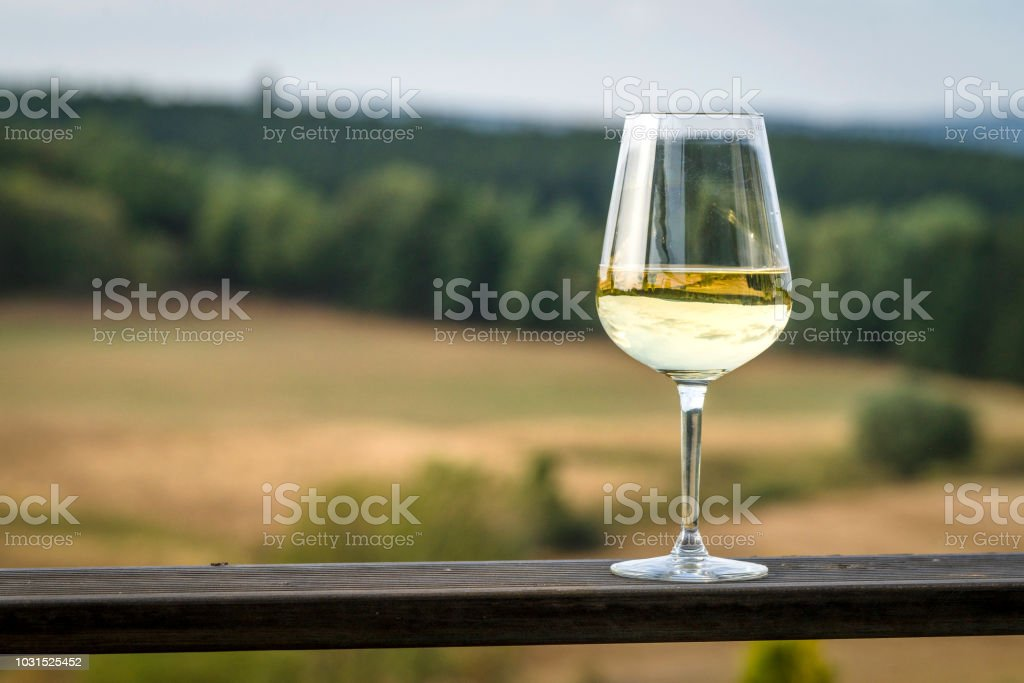Glass of white wine on a wooden board stock photo
