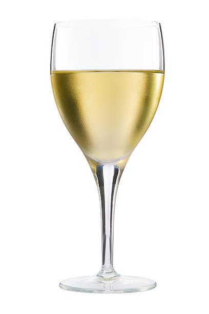 Glass of white wine on white background stock photo