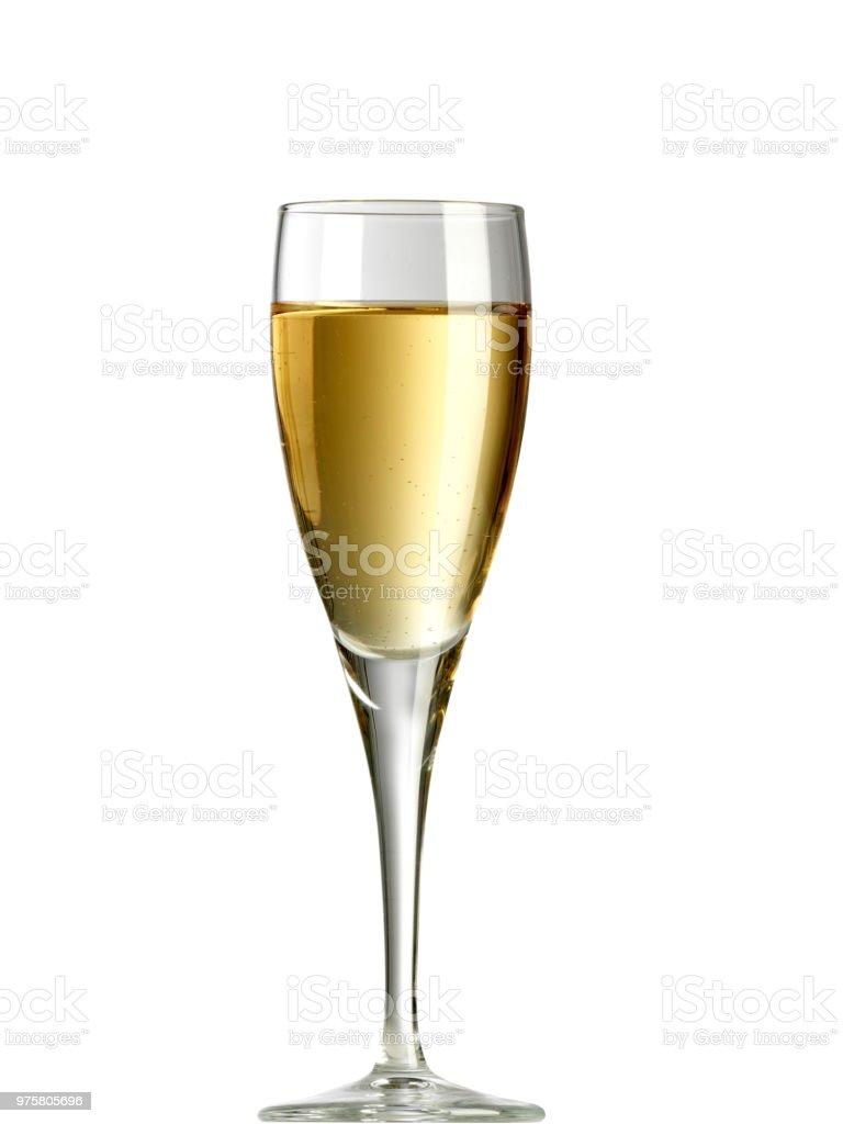 Glas Weißwein auf weißem Hintergrund - Lizenzfrei Champagnerglas Stock-Foto