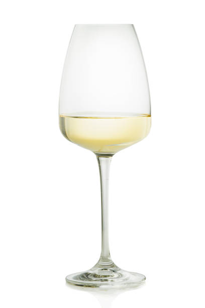 A glass of white wine. stock photo