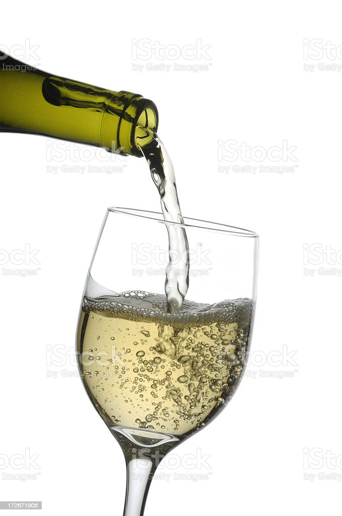 Glass of white wine w/clipping path royalty-free stock photo