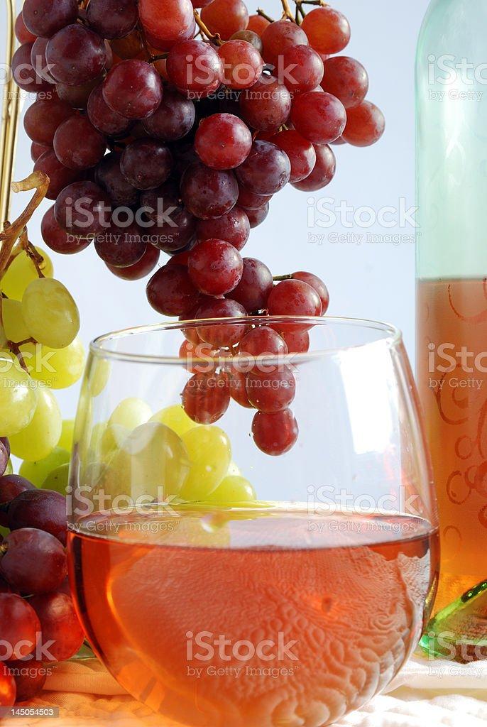 Glass of white zinfandel wine stock photo