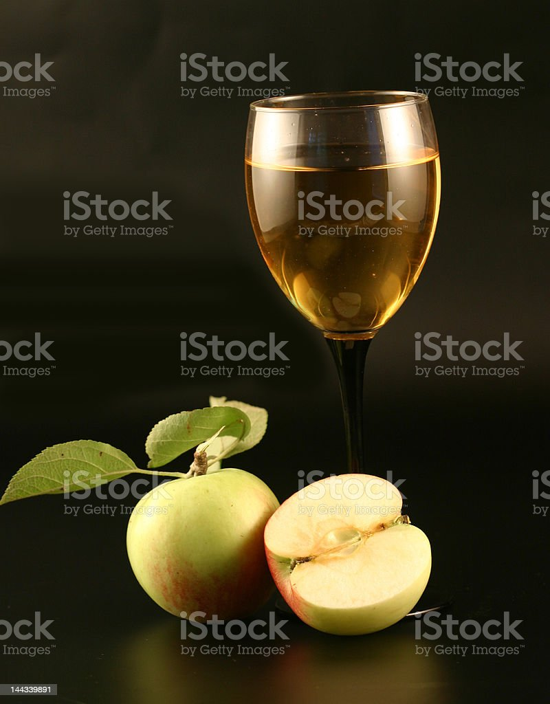 Glass of wine and  apple royalty-free stock photo