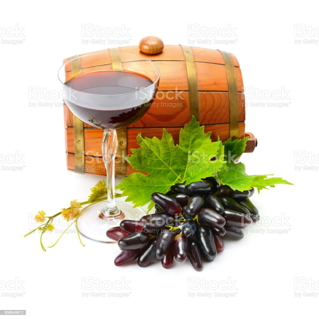 glass of wine and barrel on white background stock photo