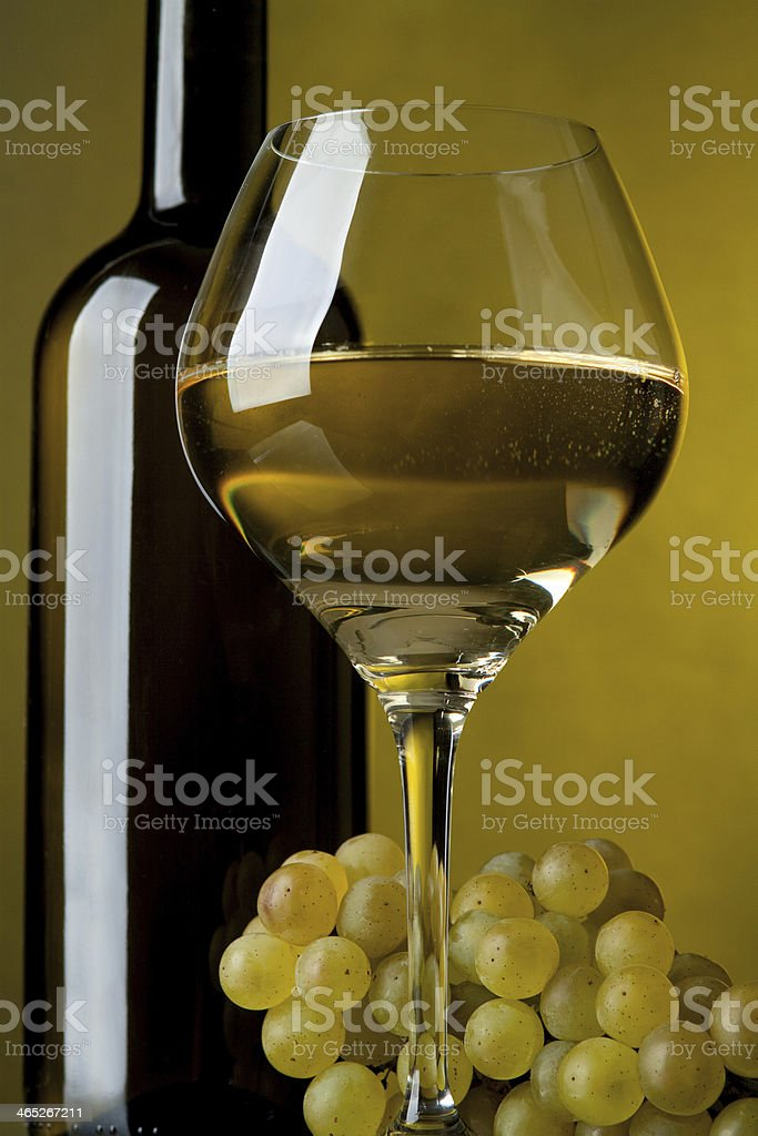 Glass of wine, bottle and grapes royalty-free stock photo