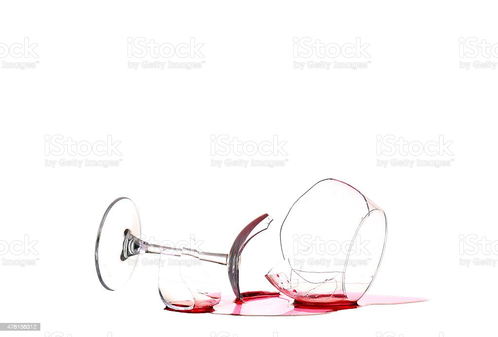 Glass of wine, broken on the mirror. Isolated on white stock photo