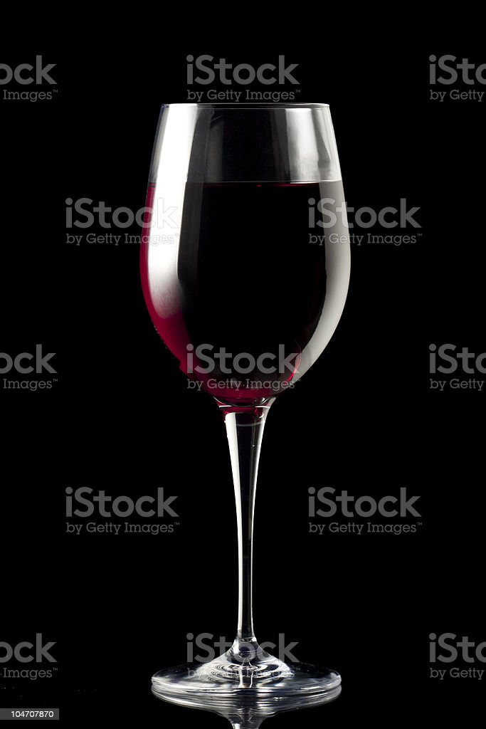 Glass of Wine Isolated on Black stock photo