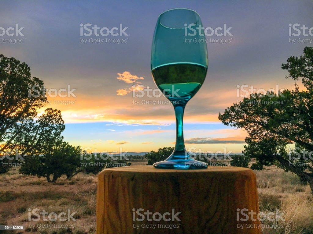 Glass of wine landscape stock photo
