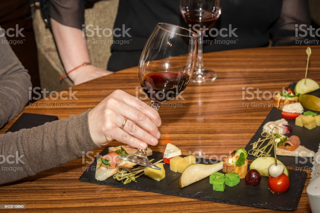 A glass of wine stock photo