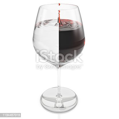 Glass of wine with a dripping drop and with liquid being formed by half wine and half water divided in half. 3D Illustration
