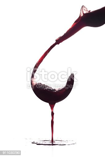 istock Glass of wine without a glass 911030290