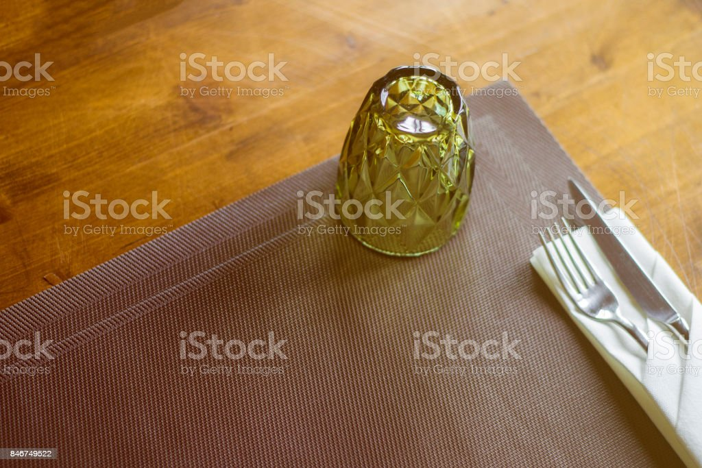 Glass on the table in a cafe stock photo
