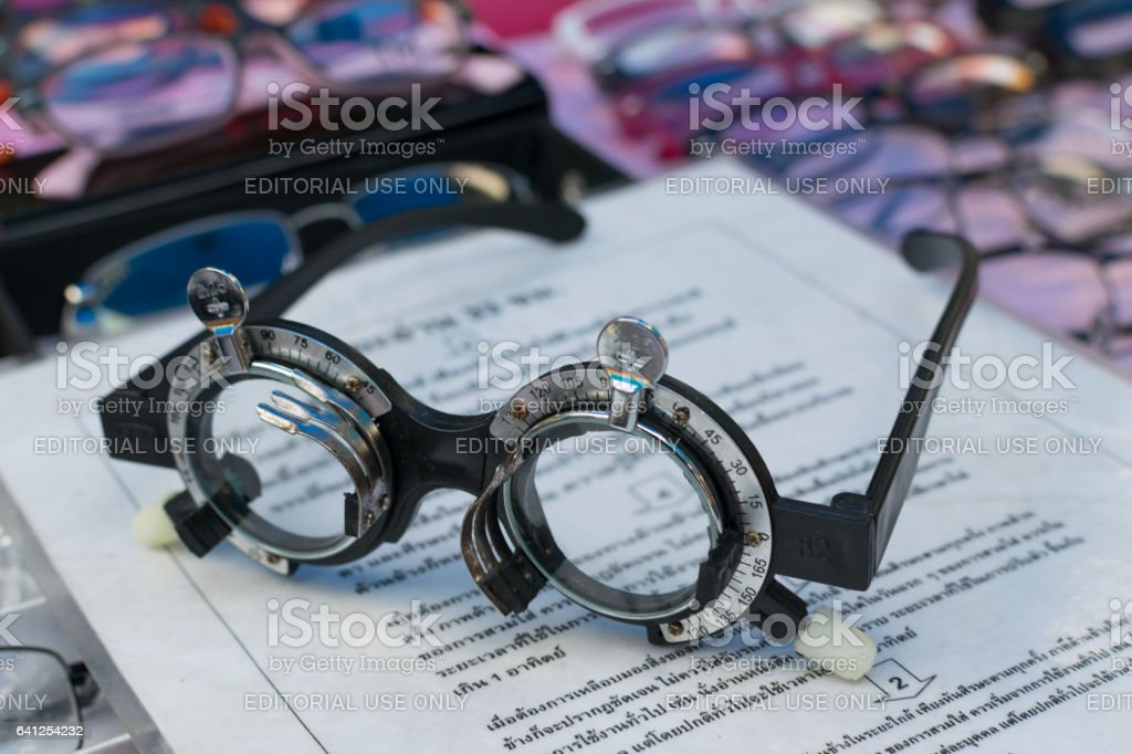 baae6231ac67 Glass optometry test and many types of glasses at glasses shop in market. -  Stock image .