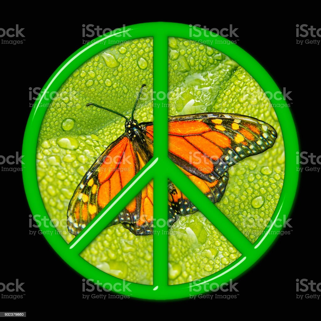 Glass Peace sign with butterfly stock photo