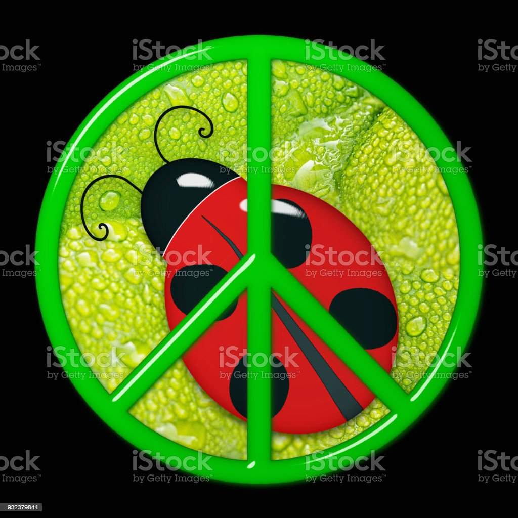Glass peace sign with ladybug stock photo