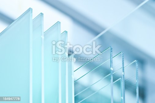 Unprocessed glass panel in glass factory