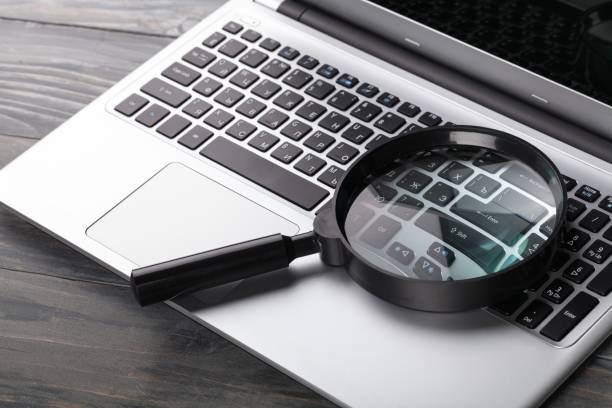 Glass. Magnifying glass on notebook, digital background magnifying glass stock pictures, royalty-free photos & images