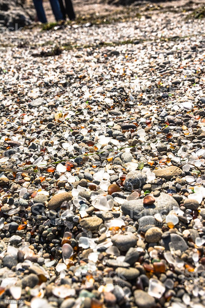Glass pieces in the Glass Beach, Fort Bragg stock photo