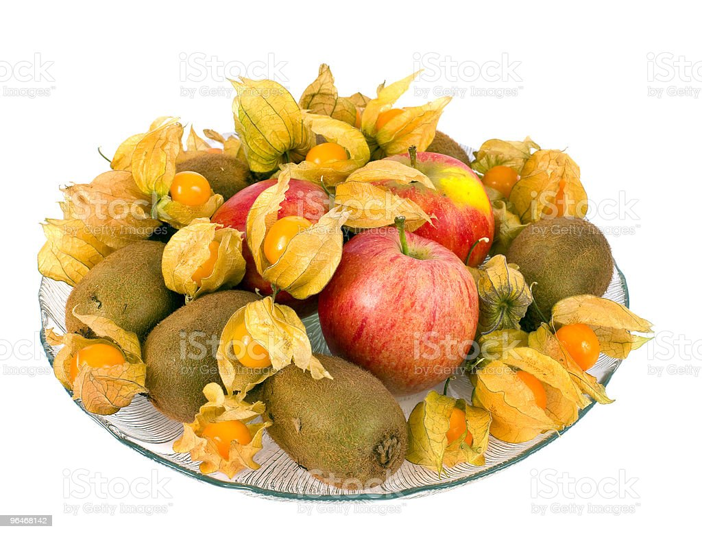Glass plate with fruit royalty-free stock photo