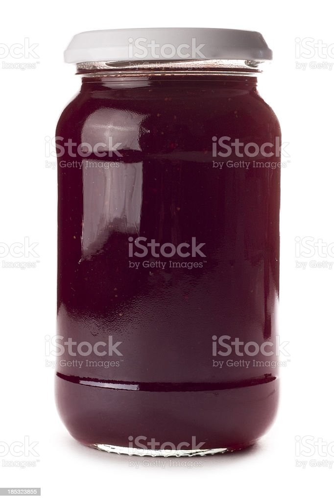 Glass preserve jar with no label on a white background stock photo