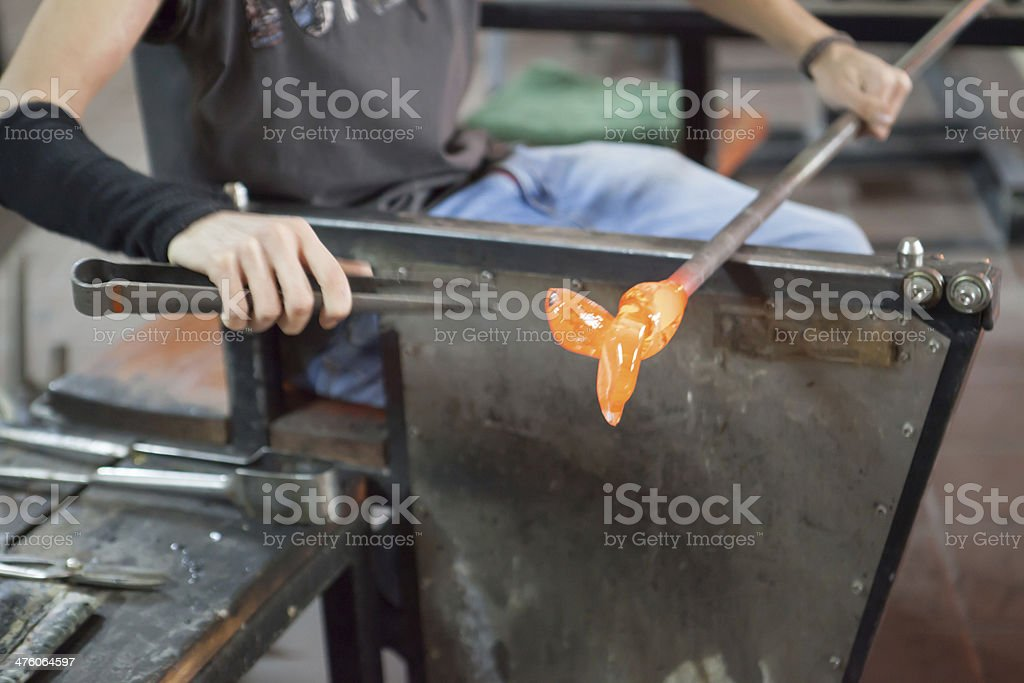 Glass production in a workshop
