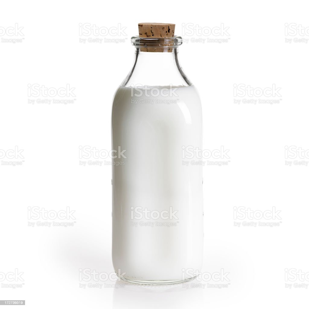 Glass quart bottle of milk with a cork  stock photo