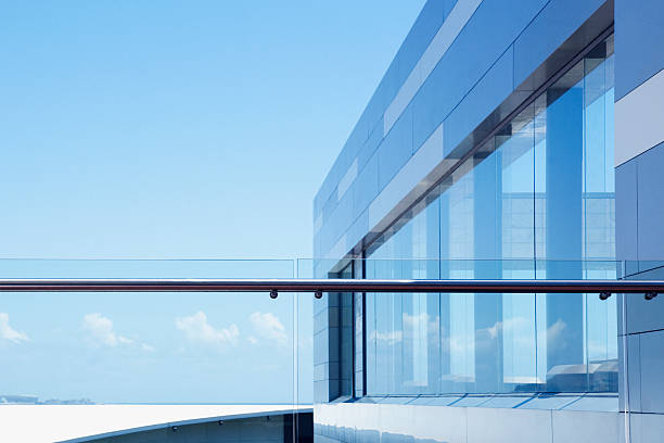 Glass railing on modern building balcony  man made structure stock pictures, royalty-free photos & images