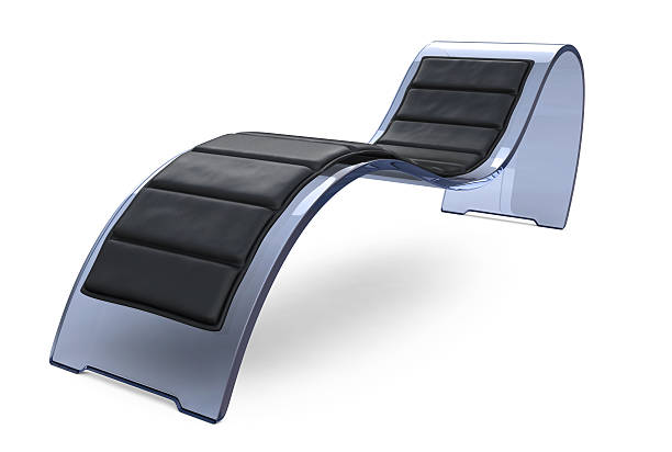 Glass Recliner Chair with Black Cushion stock photo