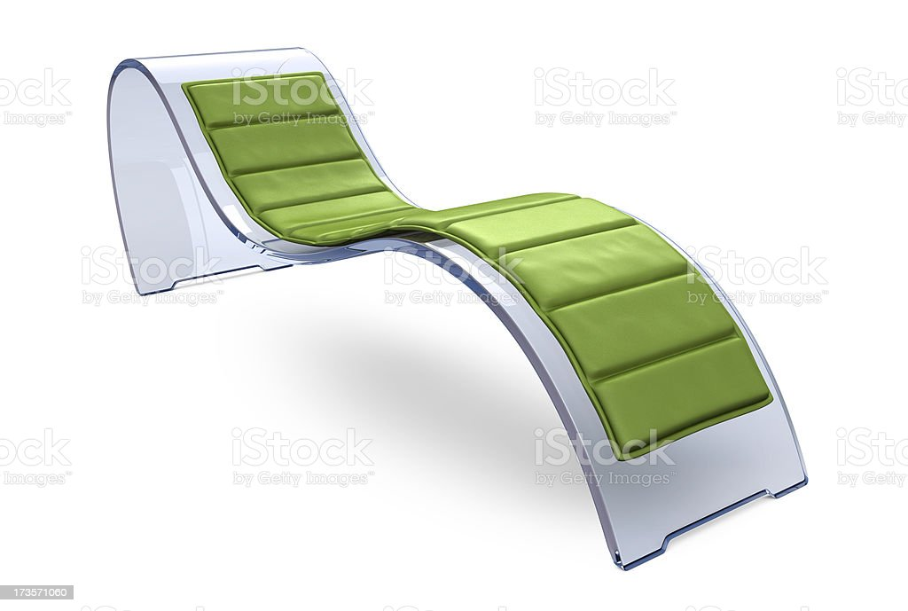 Glass Recliner Chair with Green Cushion stock photo