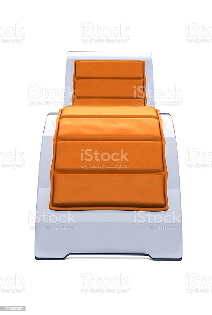 Glass Recliner Chair with Orange Cushion stock photo