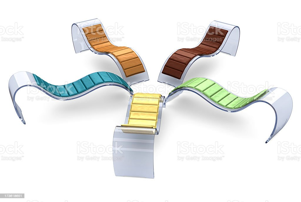 Glass Recliner Chairs in a Circle stock photo