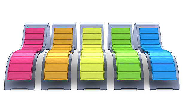 Glass Recliner Chairs in Rainbow Colors stock photo